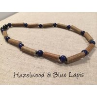 ADHD anxiety Acid Reflux Lapis Lazuli & Hazelwood 11 or 12.5 inch (For GERD, Colic, Eczema) Polished Necklace for Baby, Toddler, or Big Kid.