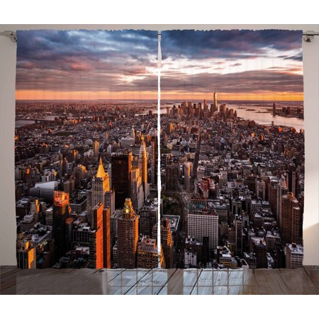 Usa Curtains 2 Panels Set  Aerial View Of The Manhattan Skyline At Sunset Famous Financial District Nyc  Window Drapes For Living Room Bedroom  108W X 90L Inches  Blue Orange White  By Ambesonne
