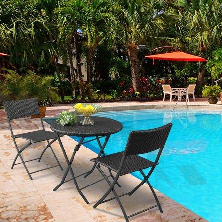 3Pcs Round Coffee Table Rattan Chair Set Modern Garden Outdoor  Backrest Lounge Sofa Chair Table Bar Set Brown Gradient ()