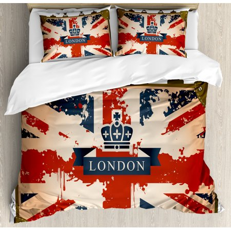 Union Jack Queen Size Duvet Cover Set  Vintage Travel Suitcase With British Flag London Ribbon And Crown Image  Decorative 3 Piece Bedding Set With 2 Pillow Shams  Dark Blue Red Brown  By Ambesonne