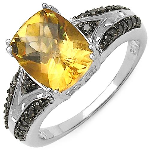 Malaika Sterling Silver 2 4/5ct TGW Citrine, Champagne and White Diamond Accent Ring Size-7, Yellow
