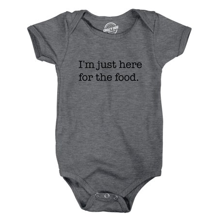 (Crazy Dog TShirts - Creeper Im Just Here For The Food Bodysuit Funny Sarcastic Snacks Jumper For Infant)