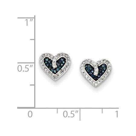 Argent 925 bleu et blanc de coeur de diamant (post 9x8mm) Boucles d'oreilles - image 2 de 3