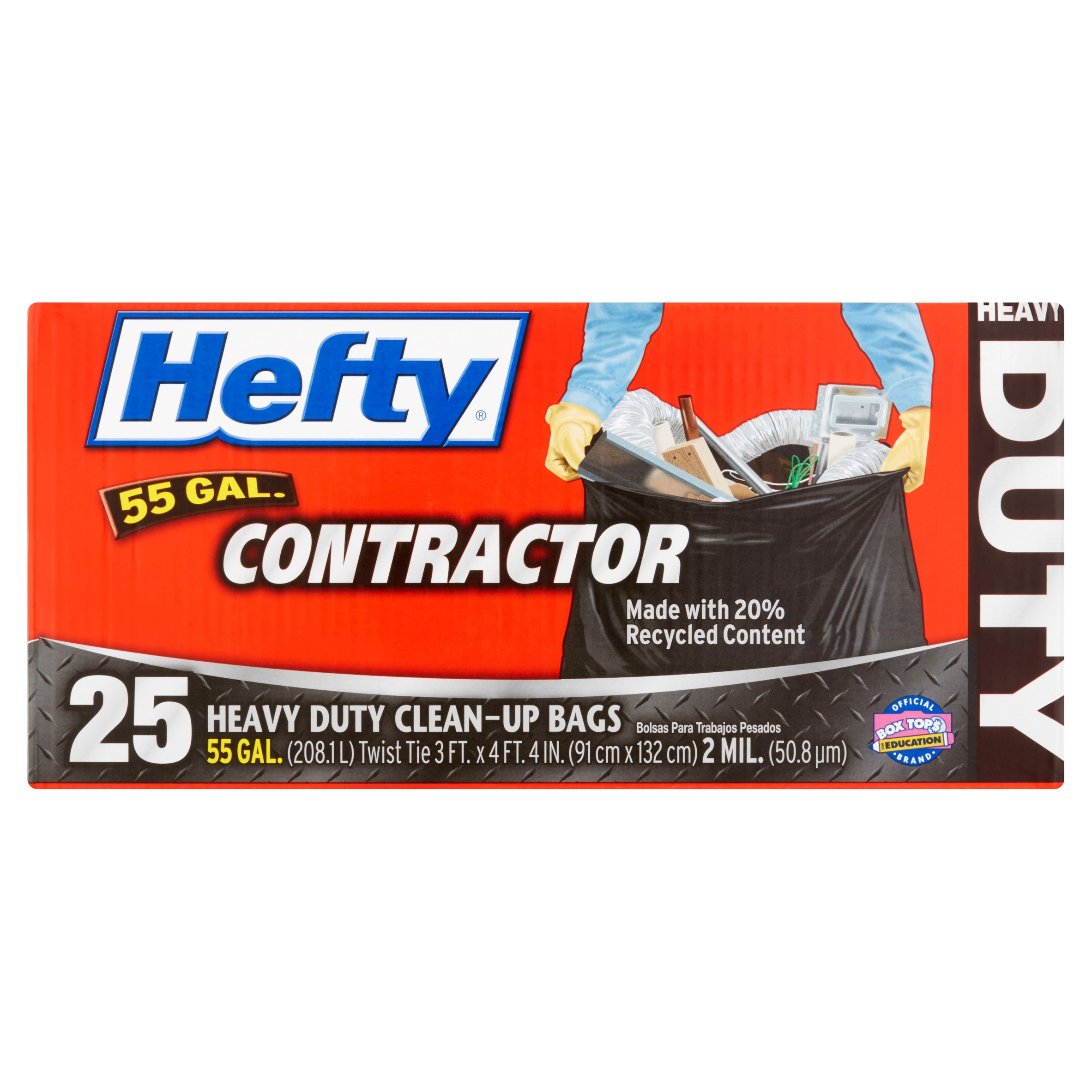 Hefty Contractor Heavy Duty Clean Up Bags Twist Tie 45 Gallon 22 Count by
