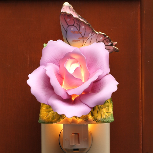 Cosmos Gifts Butterfly with Lavender Rose Night Light