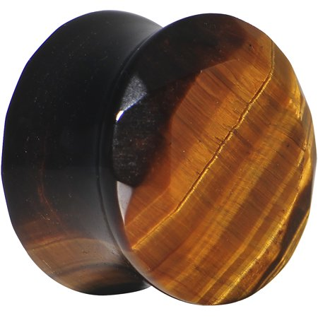 0 Gauge Tiger Eye Semi Precious Stone Faceted Double Flare Plug (1 (Horn Double Flared Plugs)