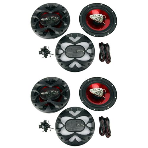 """4)  BOSS CH6530 6.5"""" 3-Way 600W Car Audio Coaxial Speakers Stereo Red"""