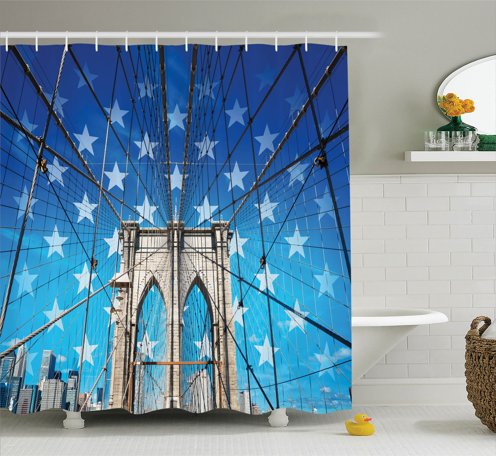 clear shower curtain with pockets