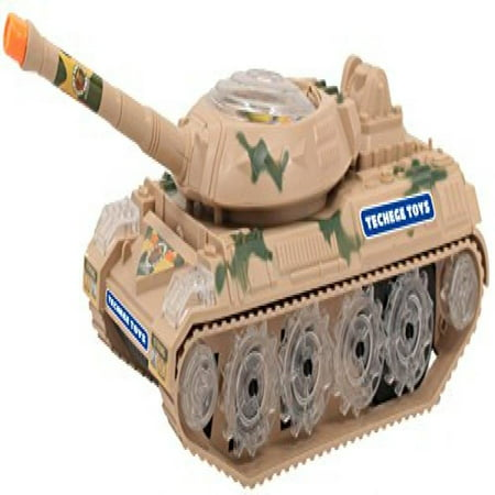Techege Battery Powered Military Tank Toy- Flashing Lights, Blasting Sounds, Moves Around on Its Own and Changes Directions When It Touches Something - Great Gift Idea Sure to Keep Kids Entertained fo - One Direction Gift Ideas