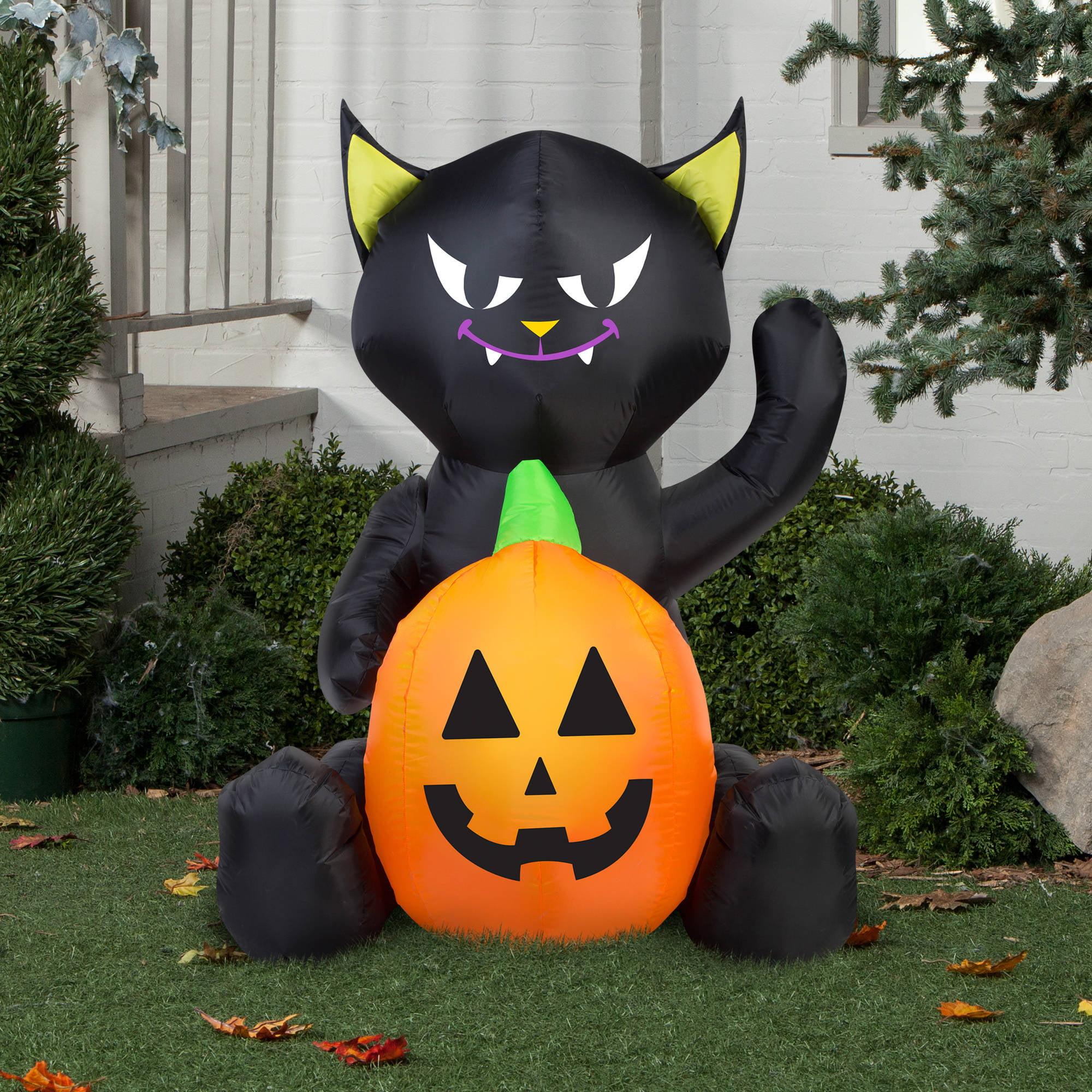 Gemmy Airn Inflatable 4 X 3 Cat Pumpkin Duo Decoration