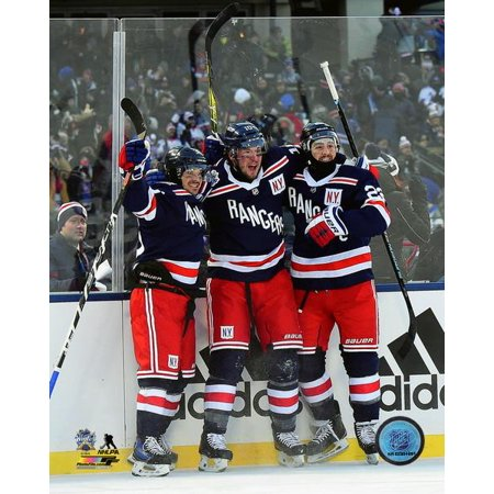 buy popular 1a1bc 68f10 Mats Zuccarello JT Miller & Kevin Shattenkirk celebrate winning the 2018  NHL Winter Classic Photo Print