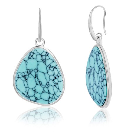 - Simulated Turquoise Teardrop Shaped Earring