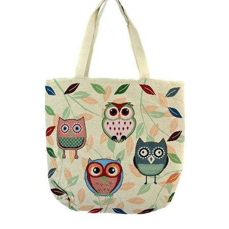Colorful Owls Multi Leaf Print Canvas Tote Bag Handbag Purse
