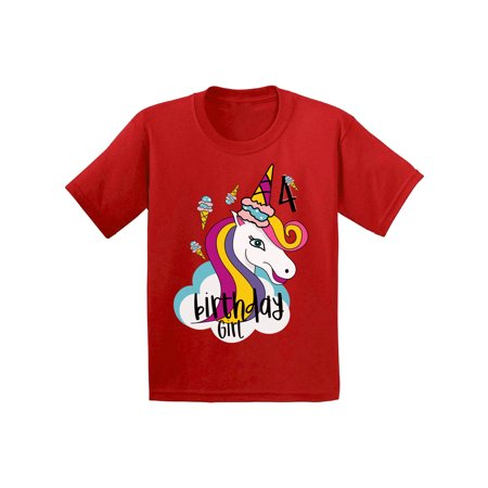 Awkward Styles Birthday Girl Toddler Shirt Unicorn Tshirt For Girls 4th Party Icecream Little