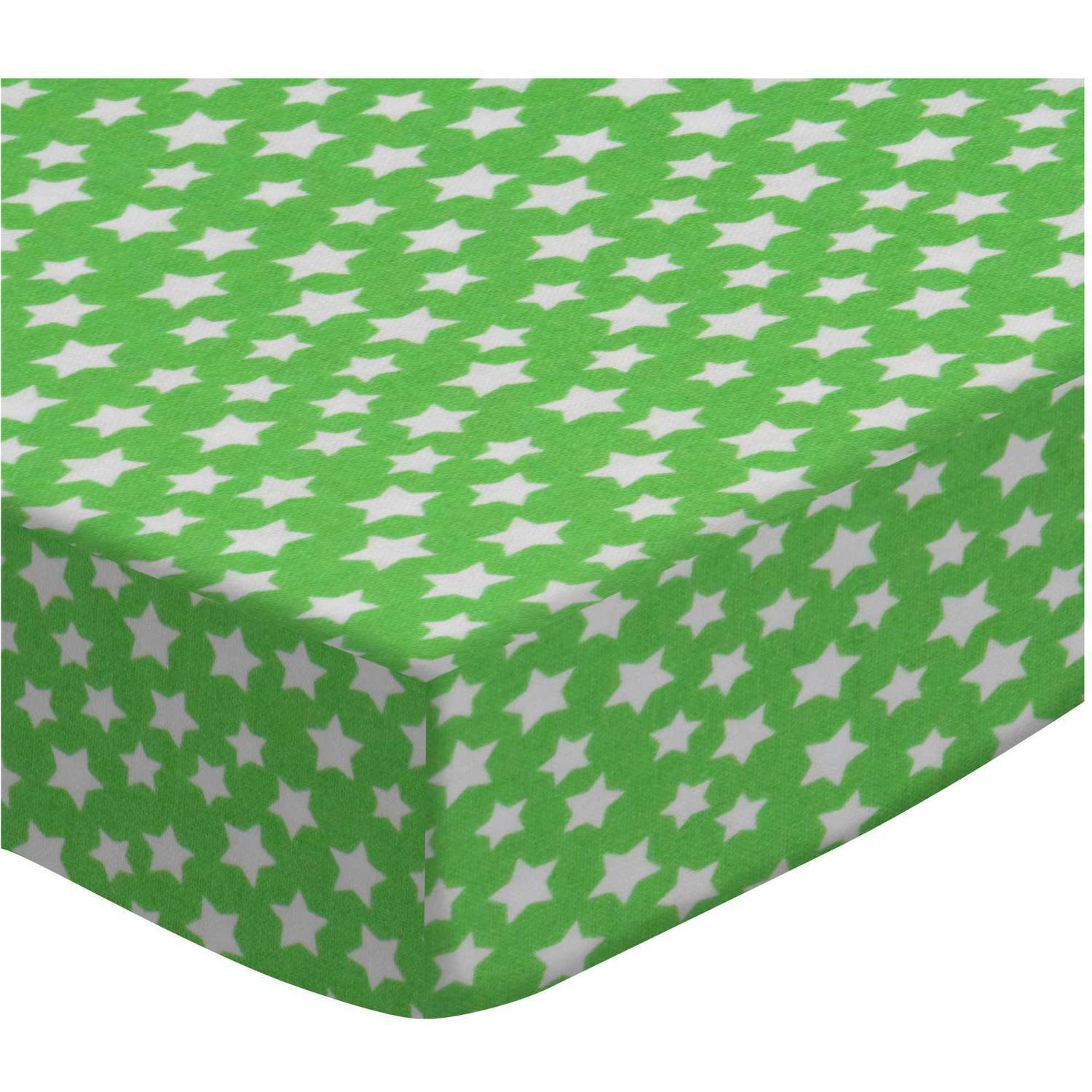 SheetWorld Fitted Crib / Toddler Sheet - Primary Stars White On Green Woven