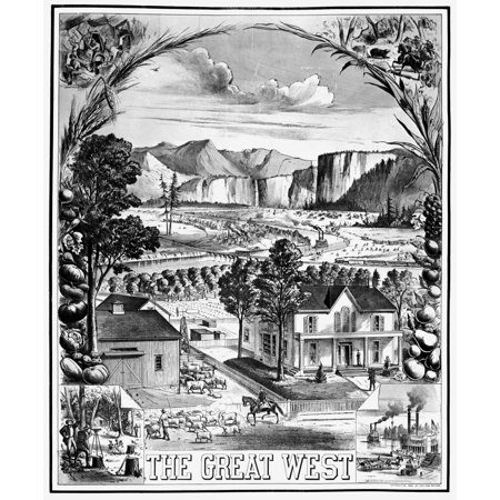 The Great West 1881 Namerican Lithograph With Scenes Of Farming Surveying Railroads And River Life Depicting The Good Life In The American West Rolled Canvas Art     18 X 24