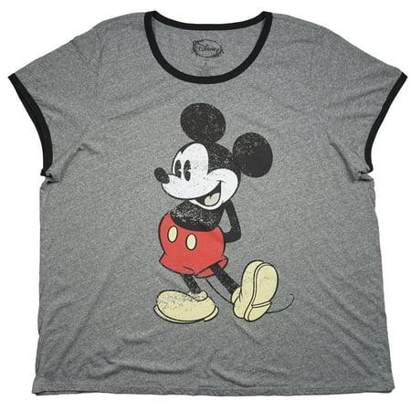 ebff38ce Disney - Plus Size Vintage Mickey Mouse Sleep Shirt Heather Grey Disney  Sleepwear Womens - Walmart.com