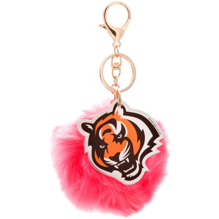 Bengal Pins (Cincinnati Bengals Cuce Pink Faux Fur Pom Bag Charm and Keychain - No Size)
