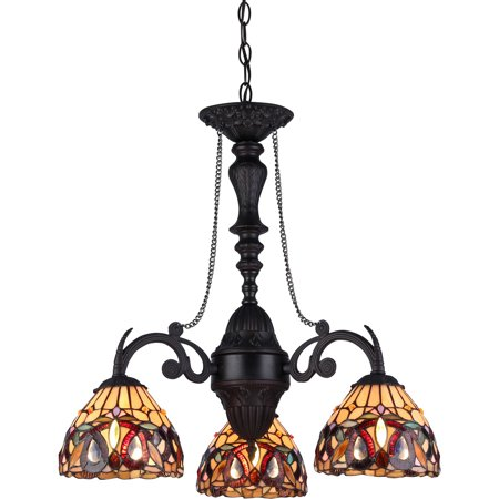 Brooksdale Mini Chandelier - Chloe Lighting Serenity Tiffany-Style 3-Light Victorian Mini Chandelier, 20.5