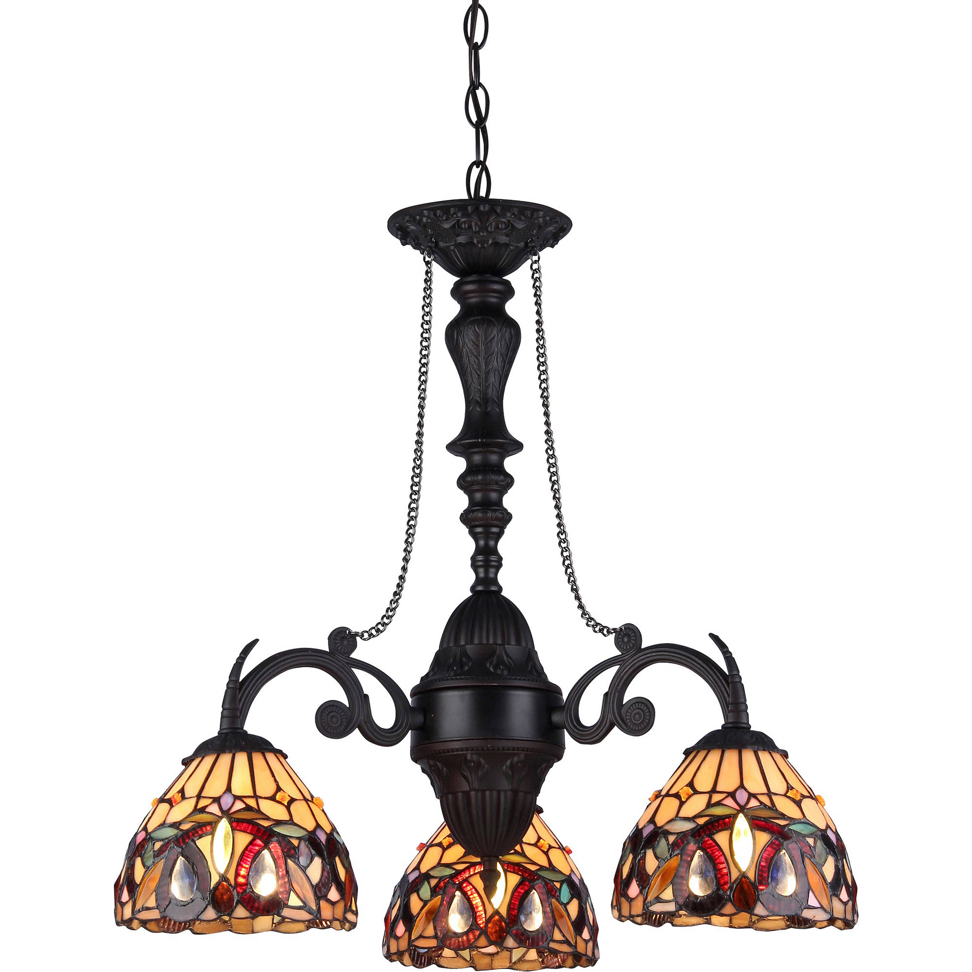 "Chloe Lighting Serenity Tiffany-Style 3-Light Victorian Mini Chandelier, 20.5"" Wide"