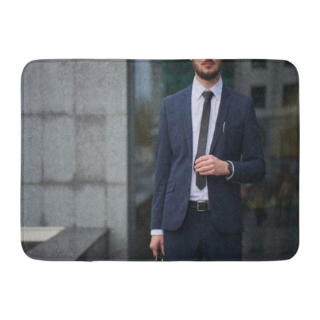 GODPOK Boss White Banker The Guy in Suit Straightens His Tie Against Building with Glass Facade Blurry Rug Doormat Bath Mat 23.6x15.7 inch - Guys With Suits