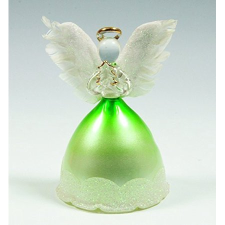 Angel Statues and Figurines - LED Light Up Angels with Real Feather Wings - Christmas Angel Holding a Xmas Tree
