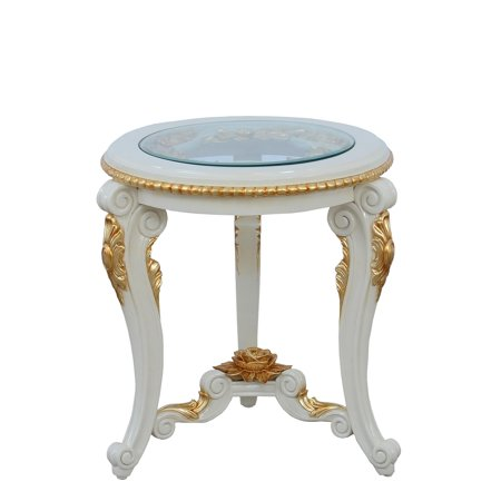 Antique Beige & Gold Luxury BELLAGIO Round Side Table EUROPEAN FURNITURE