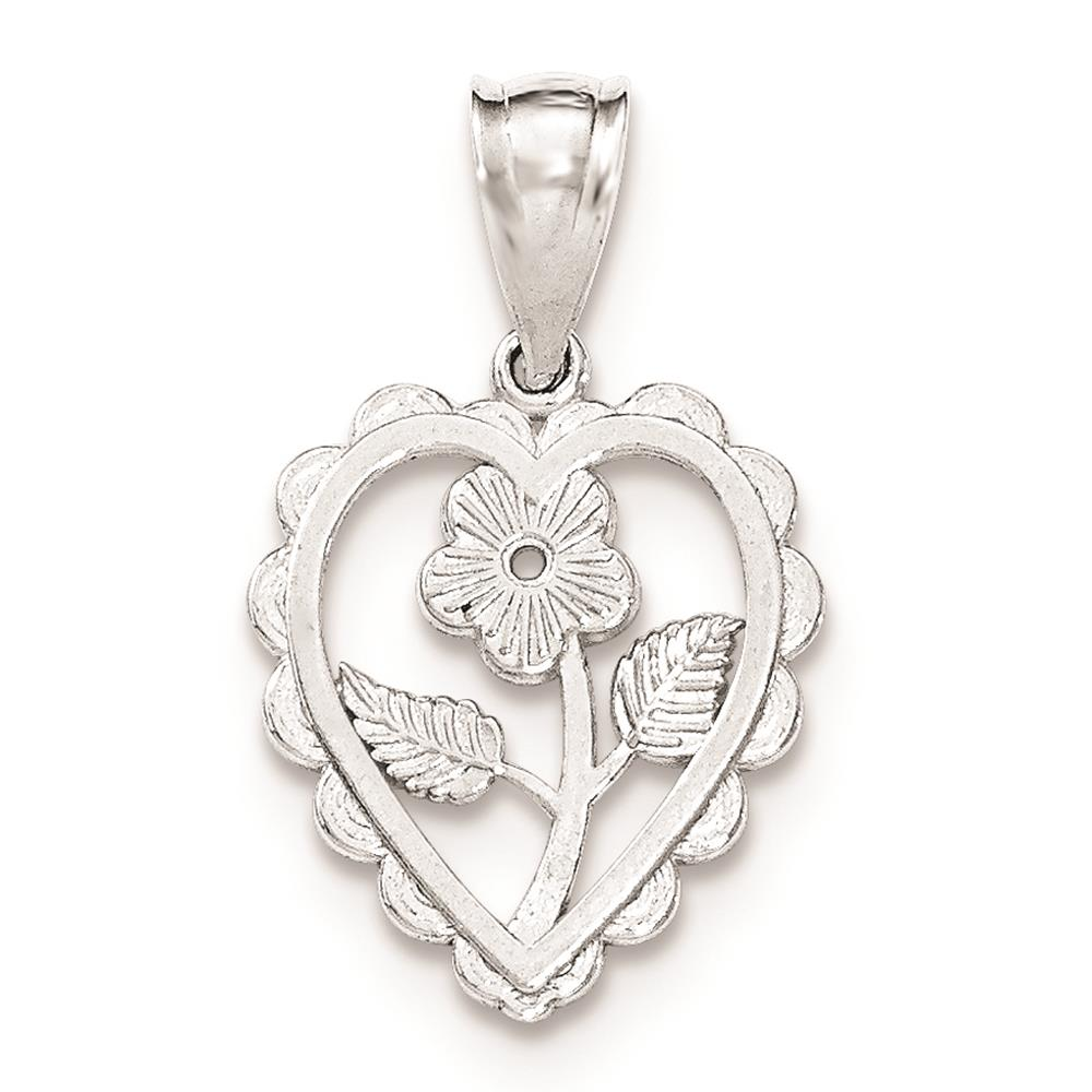 925 Sterling Silver Polished & Textured Mini Flower Center Heart Charm Pendant