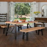 Delgado Brushed Gray Acacia Wood 3 Piece Dining Set