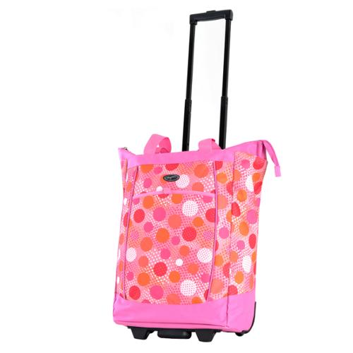 Olympia  Pink Polka Dot Fashion Rolling Shopper Tote