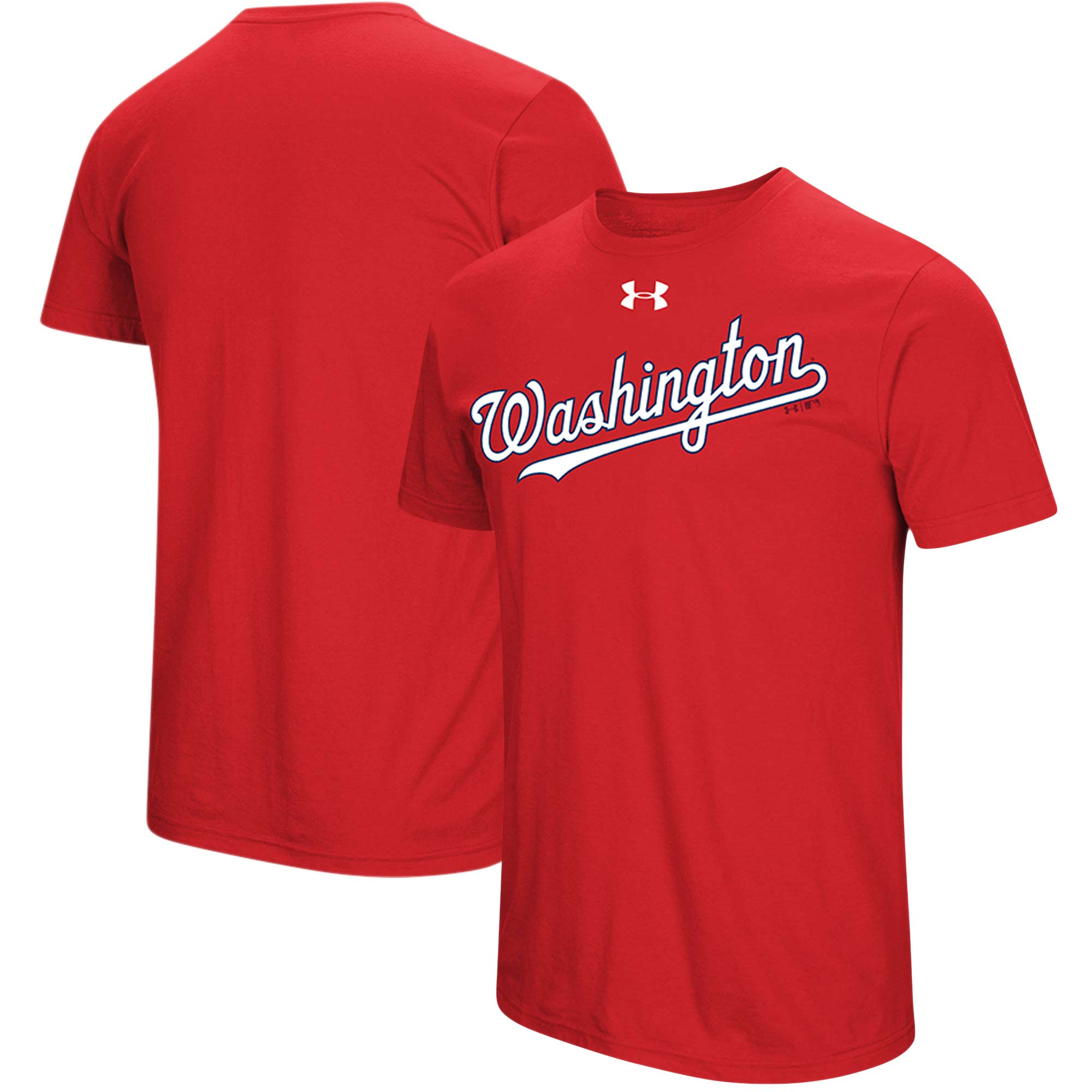 Washington Nationals Under Armour Passion Road Team Font T-Shirt - Red