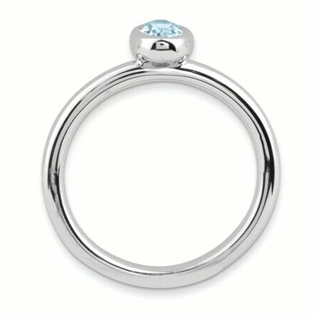 Sterling Silver Stackable Expressions Oval Aquamarine Ring Size 5 - image 2 of 3