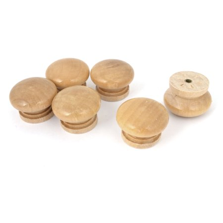 Household Replacement Round Shape Handle Wood Drawer Knobs Grip 6 Pcs (Draper Replacement)