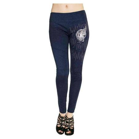 Harley-Davidson Women's Steel Butterfly Embellished Leggings, Dark Denim, Harley Davidson
