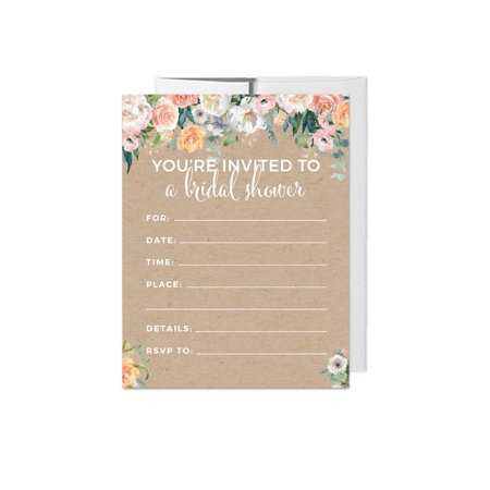 Peach Coral Kraft Brown Rustic Floral Garden Party Wedding, Blank Bridal Shower Invitations with Envelopes, - Cheap Party Invitations
