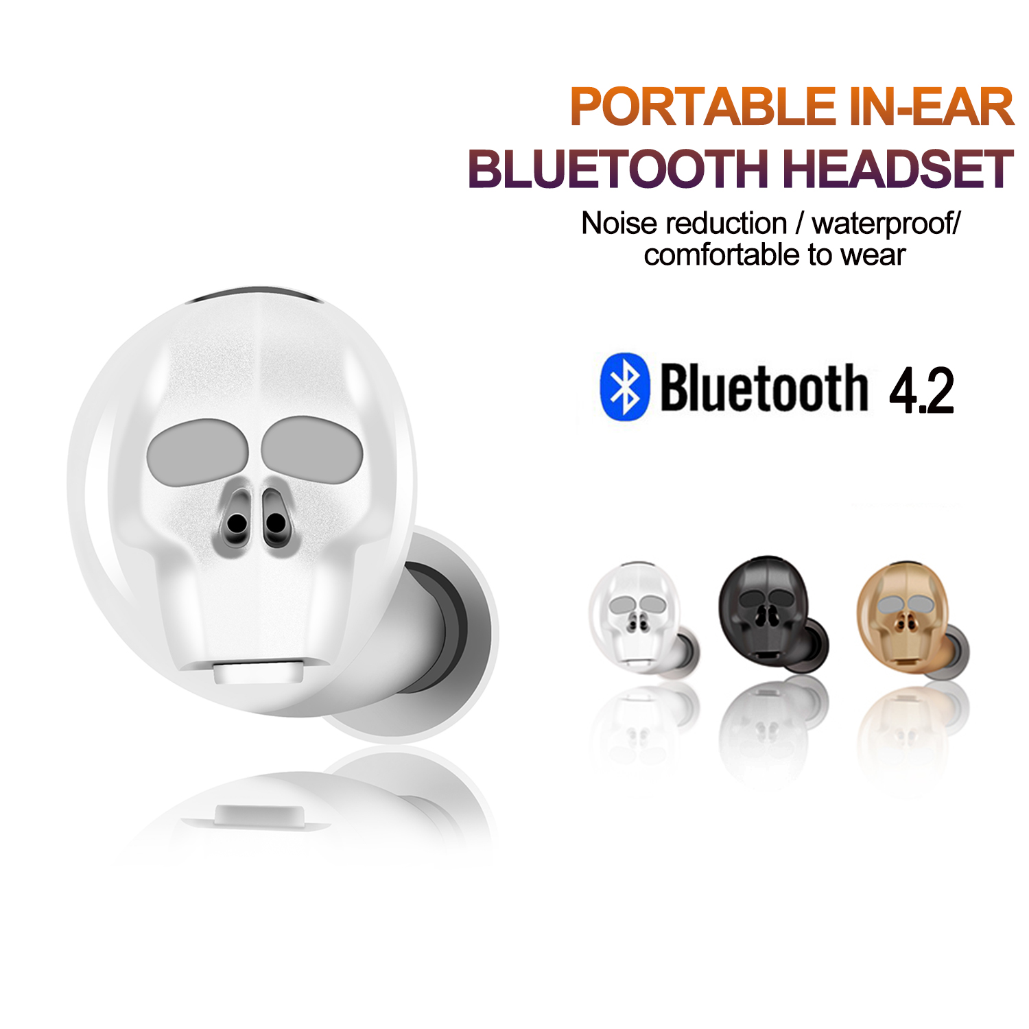 AGPtek Mini Wireless Earbuds Bluetooth 4.2 Headset Stereo Invisible Headphones with Mic for IPhone Samsung HTC