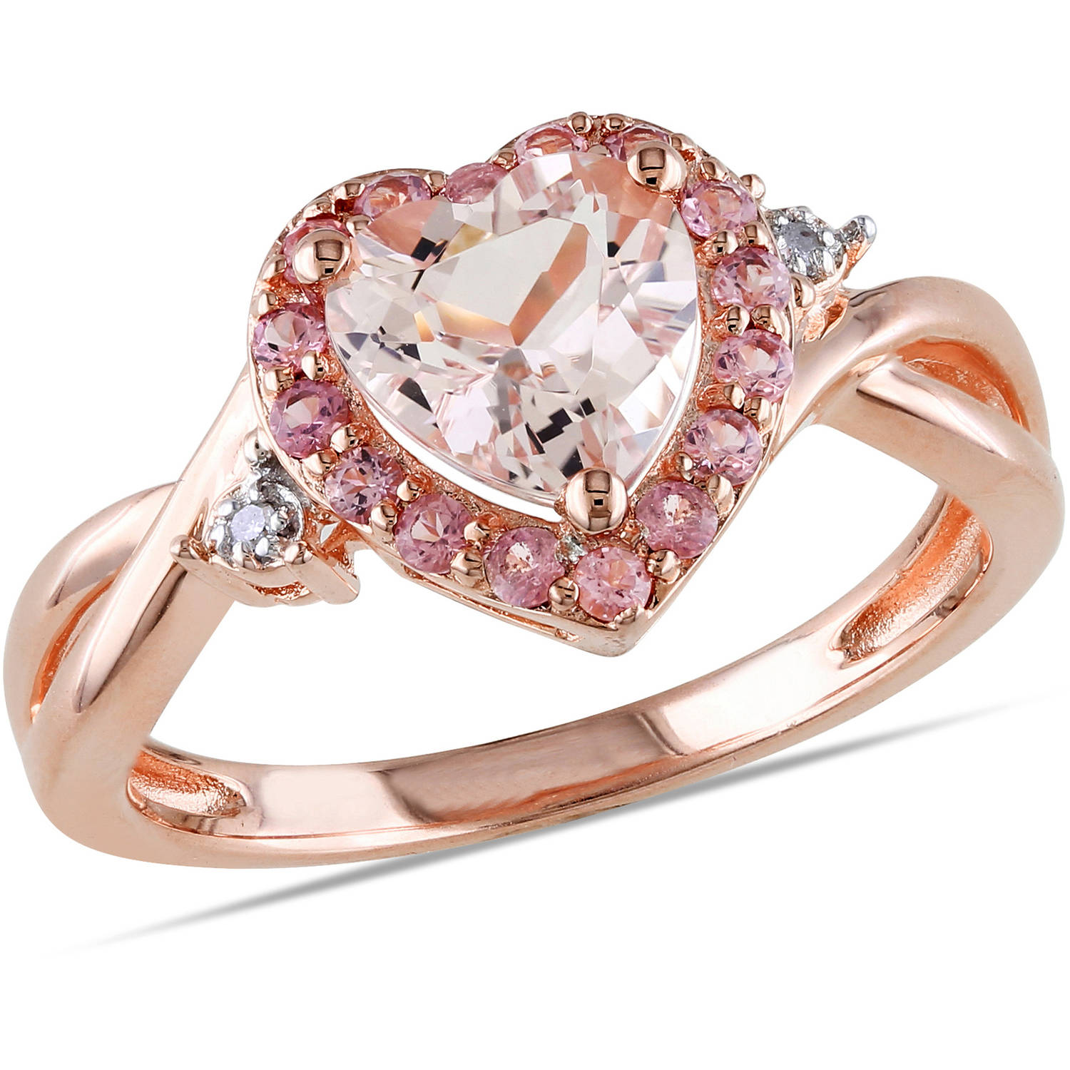 Tangelo 1-1 3 Carat T.G.W. Morganite Pink Tourmaline and Diamond-Accent Pink Rhodium-Plated Sterling Silver Heart Ring by Delmar Manufacturing LLC