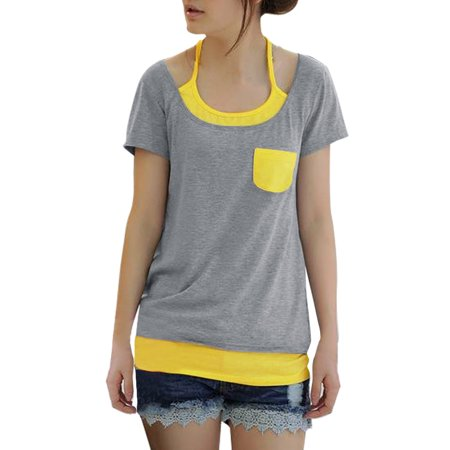 Allegra K Women's Contrast Color Layered Tops Gray (Size L / 12)