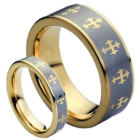 For Him & Her 8MM/5MM Tungsten Carbide Two Tone Gold Plated Laser Etched Celtic Cross Wedding Band Ring Set