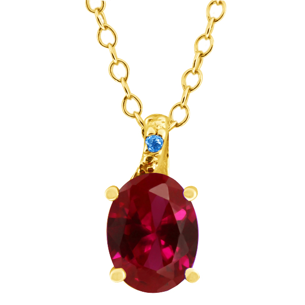 1.43 Ct Oval Red Created Ruby Swiss Blue Simulated Topaz 14K Yellow Gold Pendant