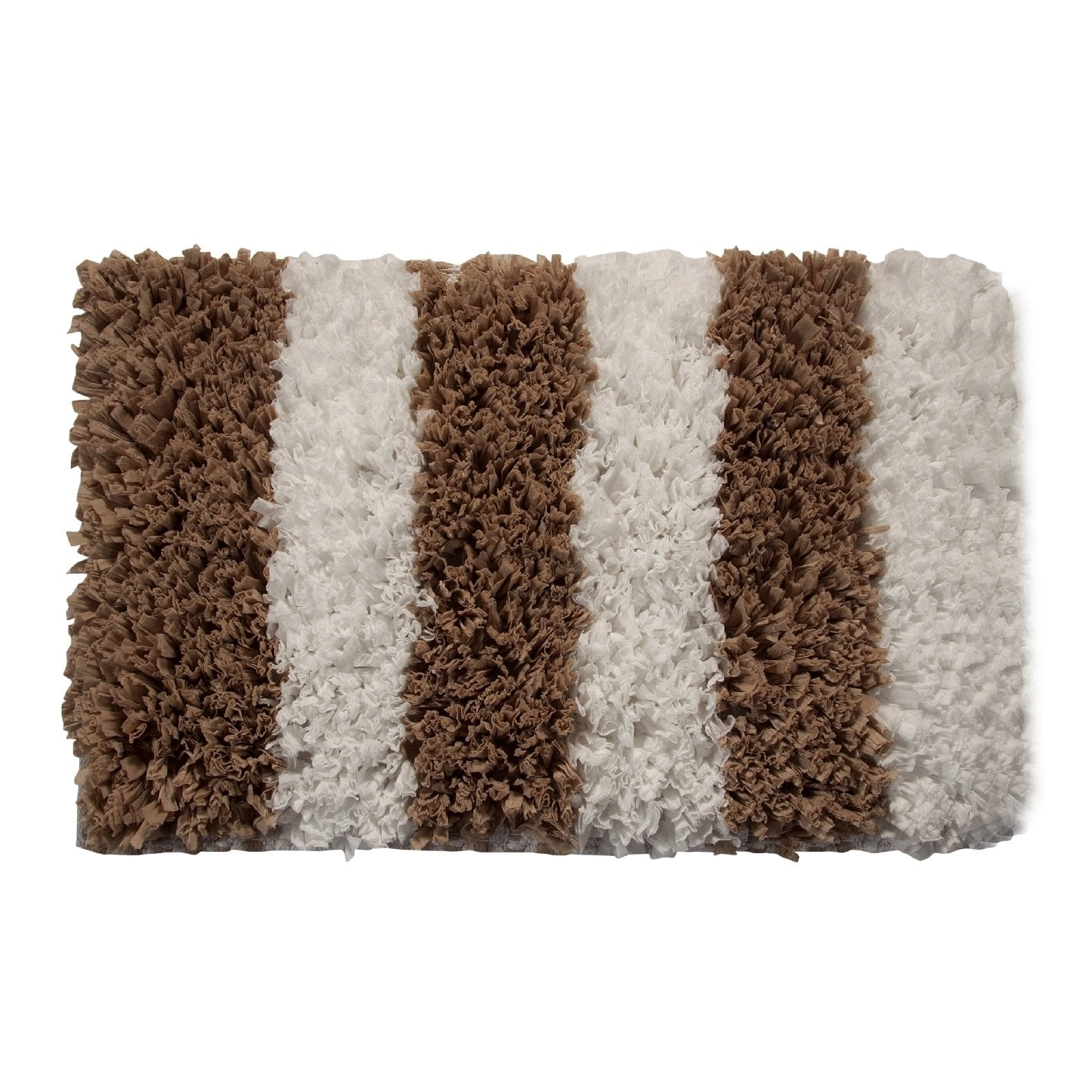 Bath Rug Saffron Fabs Polyester Viscose Cotton Handloom Woven 50x30 Inches Color White and Beige GSF 200 Patte
