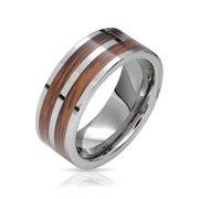 Double Row Wide Stripe Brown Koa Wood Inlay Titanium Wedding Band RingsforMen for Women Silver Tone Comfort Fit 8MM