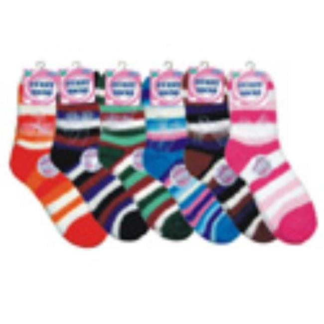 Bulk Buys Ladies Dark Fuzzy Crew Socks - Case of 72