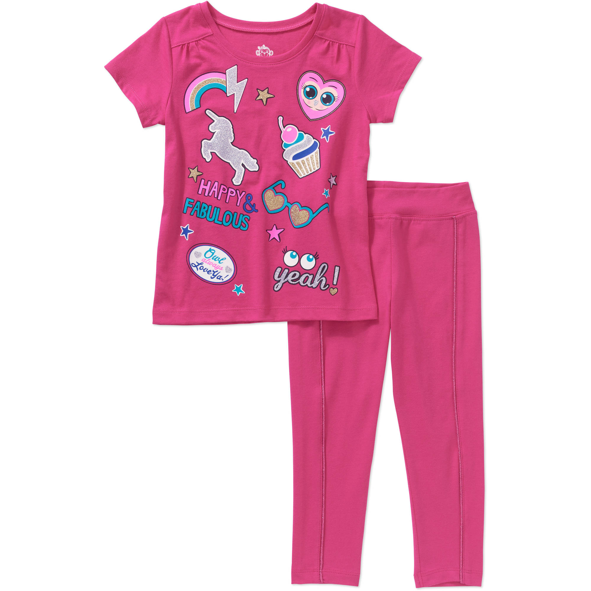 365 Kids from Garanimals Girls' Short Sleeve Graphic Tee and Solid Legging with Piping, Outfit Set