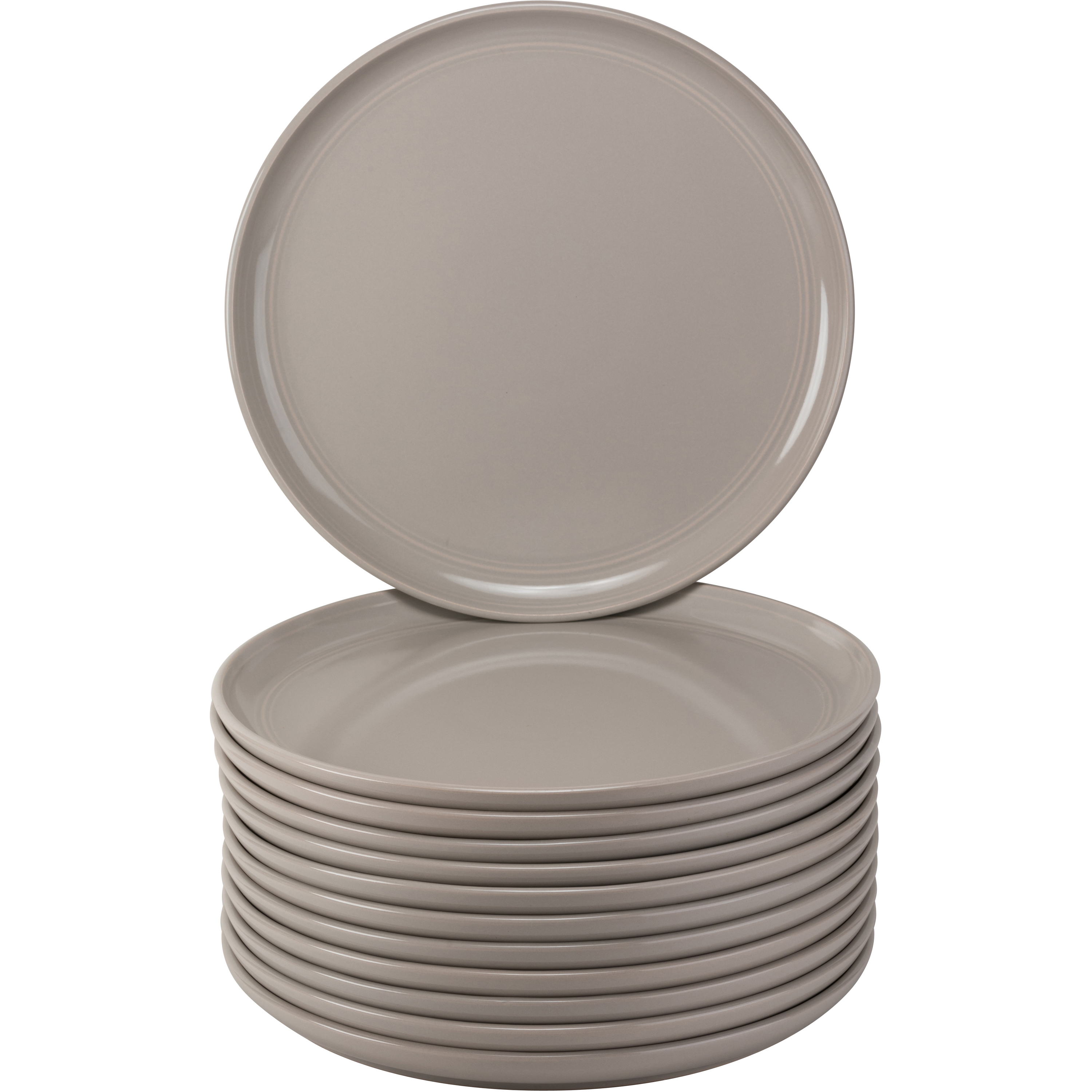 10 Strawberry Street Double Line Catering Pack, Set of 12 Gray Dinner Plates 10.25""