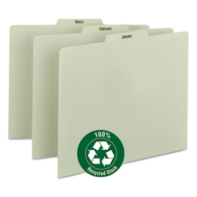 Recycled Top Tab File Guides, Monthly, 1 3 Tab, Pressboard, Letter, 12 Set, Sold as 1 Set, 12 Each per Set by