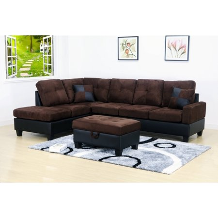 Beverly 3 pc Dark Brown 2 Tone Microfiber Living Room Left Facing Chaise Sectional set with Storage Ottoman ()