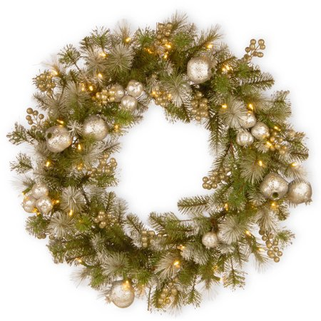 """30"""" Glittery Pomegranate Pine Wreath with Battery Operated LED Lights"""