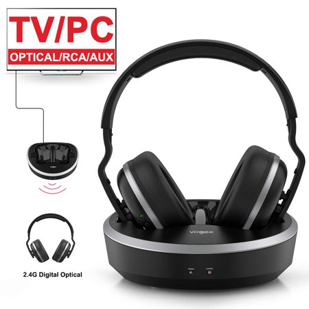 VOGEK Wireless Headphones for TV with RF Transmitter for Watching and Listening-Digital Over Ear Cordless TV Headphones Rechargeable 20 Hour Battery and Charging (Rf Headphone Transmitter)