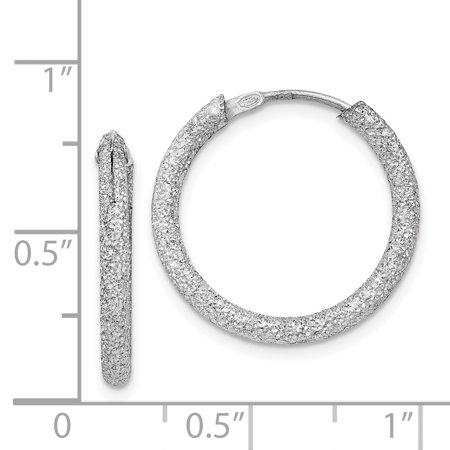 Sterling Silver Rhodium-plated Laser Cut Endless Hoop Earrings QE8563 - image 1 of 2